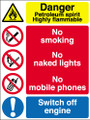 Danger Petroleum spirit Highly flammable No smoking No naked lights sign