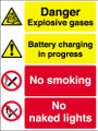 Danger Explosive gases Battery charging in progress sign