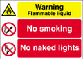 Warning Flammable liquid  No smoking  No naked lights sign
