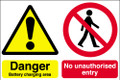 Danger battery charging area  No unauthorised entry sign