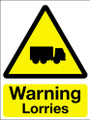Warning lorries sign