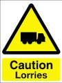 Caution lorries sign
