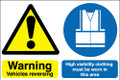 Warning vehicles reversing  High visability clothing must be worn in this area