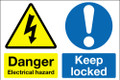 Danger electrical hazard Keep locked