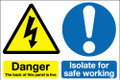 Danger the back of this panel is live Isolate for safe working