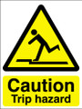 Caution trip hazard self adhesive sign