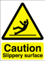 Caution slippery surface self adhesive sign