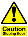 Caution sloping floor sign