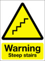 Warning steep stairs sign