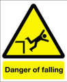 Danger of falling sign