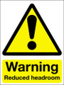 Warning reduced headroom adhesive sign