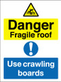 Fragile roof use crawling boards sign