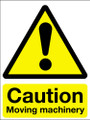 Caution moving machinery adhesive sign