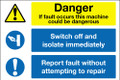 Danger machine fault muti message sign
