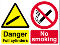 Danger full cylinders No smoking sign