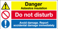 Danger asbestos insulation sign