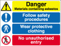 Danger materials containing asbestos sign