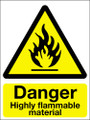 Danger highly flammable material sign