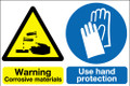 Warning corrosive materials multi message sign