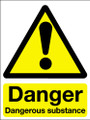 Danger dangerous substances adhesive sign
