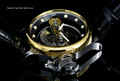 Invicta 14213 Russian Diver Bridge Automatic Gold Tone Black Leather Strap Watch | Free Shipping