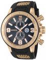 Invicta 13689 Jason Taylor Collection Quartz GMT Rose Gold Tone Black M.O.P Black Polyurethane Strap Watch | Free Shipping