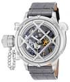 Invicta 14630 Men's Russian Nautilus Swiss Mechanical Gunmetal Dial Grey & Black Leather Strap Watch   Free Shipping