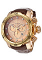 "Invicta 13883 Reserve Venom ""High Polished"" Rose Gold Tone Brown Leather Band Watch w/Strap 