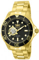 "Invicta 13709 Grand Diver Automatic Black Dial 18k Gold Plated ""Open Heart"" Stainless Steel Bracelet Watch 