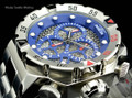 "Invicta 19181 I-Force 52mm ""Twisted Metal"" Blue Dial Quartz Chronograph Stainless Steel Bracelet Watch 