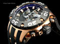 Invicta 0918 Reserve Scuba Specialty Subaqua Swiss Quartz Chronograph Black Dial Rose Gold Tone Polyurethane Strap Watch | Free Shipping