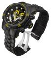 Invicta 14458 Reserve 52mm Venom Swiss Quartz Chronograph 5040F Blakck & Yellow Dial Black Bracelet Watch   Free Shipping
