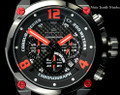 Invicta 23294 Corduba 50mm JASON TAYLOR BLACK RED Quartz Leather Watch w/JT 3 SLOTCase