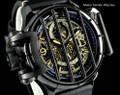 Invicta 20256 Reserve 52mm Vintage All Black Stealth Cross Bar Quartz Multi Function Leather Strap Watch