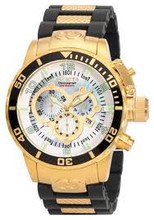 Invicta 0478 Men's Corduba Collection Chronograph Black Polyurethane and 18k Gold-Plated Watch | Free Shipping