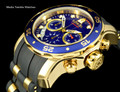 Invicta 6983 Men's Pro Diver Collection Chronograph Blue Dial Black Polyurethane Watch | Free Shipping