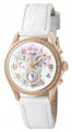 Invicta 0582 Women's Angel Collection Chronograph Diamond Accented Rose Gold White Leather Watch | Free Shipping