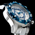 Invicta 11007 Reserve Men&#039;s Excursion Silver Dial Blue IP Bezel Swiss Quartz Chronograph Bracelet Watch w/ 8 SLOT DIVE CASE | Free Shipping