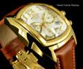Invicta 13693 Men's Dragon Lupah Swiss Quartz Chronograph Gold Tone Brown Leather Strap Watch | Free Shipping