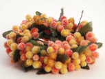 Small 3 inch Micro  Beaded Rice Berry Candle Ring - Orange/Yellow