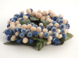 Small 3 inch Micro  Beaded Rice Berry Candle Ring - Navy Blue & Cream