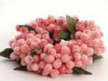 Small 3 inch Micro  Beaded Rice Berry Candle Ring - Pink