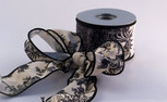 Black on White Toile Ribbon, 2-1/2 inch, wired, 10 yards
