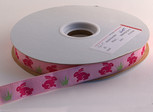 Pink Bunny Ribbon, 5/8 inch, increments of 5 yards or 27-yard roll.
