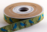 Birdie, jacquard woven Ribbon,  7/8 inch, increments of 5 yards or 27-yard roll.