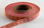 Pink Jester Ribbon, 5/8 inch, 5 yard increments or 27 yard roll