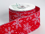 Wired Snowflake on Red Velvet Ribbon | 2 1/2 inch width | 20 yards
