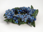 Small 3 inch Micro  Beaded Rice  Berry Candle Ring - Blue