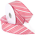 Wired Striped Ribbon - Red | 2 1/2 inch width | 50  yards