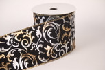 Wired Silver and Gold on Black Velvet Paris   4 Inch Width   10 yards